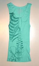 Iron Fist Caged Rib Tank Top SMALL Sea Foam Green Skeleton Bones Ribbed Womens S