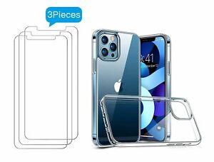 iPhone 12 / 12 Pro /  Mini / Max Hülle + 3x Schutzglas Panzerfolie transparent
