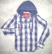 SUPERDRY Japan Blue Gray Denim PLAID Button Down Hoodie Jacket XS Small USED