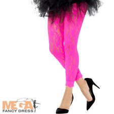 Neon Pink 1980s Lace Leggings Ladies Fancy Dress Disco Adults Costume Accessory