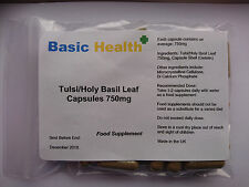 Tulsi Holy Basil Leaf x 30 High Strength 750mg Capsules Made in UK