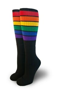 Pride Socks Black Rainbow Unisex Knee High Tube Socks Glow