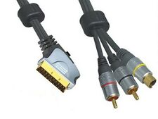 3m Scart To 2x RCA Phono Male Plugs + SVHS Male Plug Gold Plated Lead
