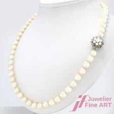 Akoya-Perlenkette Ø 7,1 mm - 88 cm - 58,7 g -14K WG Schließe - perfektes Lüster