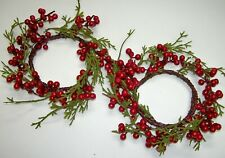 """2 pcs Cedar & Berry Candle Rings Mini wreath Red Green 3.5"""" opening Christmas"""