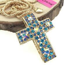 Jewelry charm Betsey Johnson cross pendant women rhinestone gold chain necklaces