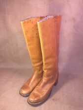 Vintage Frye Golden Brown Leather Campus Knee Hi Boots Ladies Sz 9 / 8.5