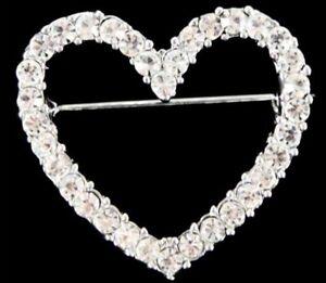 Venetti Diamante Heart Brooch Costume Jewellery Lovely Gift Valentine Present