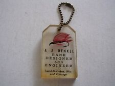 A A HENKEL BANK DESIGNER & ENGINEER LAND O LAKES WI & CHICAGO PLASTIC KEY CHAIN