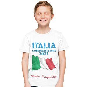 T-Shirt Bambino Stampa Celebrativa Vittoria Europei Calcio 2021 Italia Campione