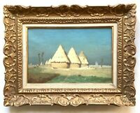 19th Century Antique Oil FRENCH Impressionism Painting Landscape with haystacks