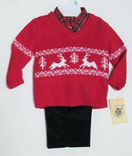 Baby Toddler 18M 3 pc Outift Boys Plaid Reindeer Good Lad  NWT Holiday Christmas