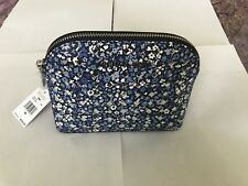 Michael Kors Emmy Navy Floral PVC Leather Travel Pouch Cosmetic Case Makeup Bag