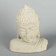"""Style Antique Pierre De Jardin Bouddha en Pierre Bouddha Tête - 25cm/9.5"""""""
