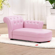 Pink Kids Sofa Chaise Lounge Armrest Chair Relax Couch Bedroom Living Room