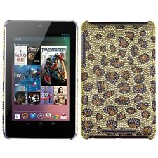 Google Asus Nexus 7 - DIAMOND BLING HARD PROTECTOR CASE COVER GOLD LEOPARD SKIN