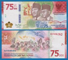 Indonesia 75,000 Rupiah P New 2020 UNC Commemorative, Low Shipping Combine 75000