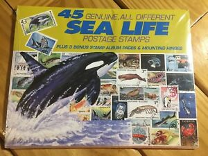 Bulk 20 Packs 45ct Genuine all different Sea Life Postage Stamps Album Pages