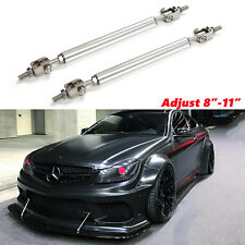 "Pair Silver Regulable 8""-11"" Front Bumper Lip Splitter Rod Strut Tie Bar Support"