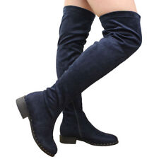 Ladies Womens Over The Knee BOOTS Thigh High Low Block Heel Stud Shoes Size UK 7 Navy Studded Platform