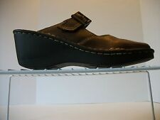 Women's AEROSOLES Brown Leather Slip-On Mary Jane Buckle Platform Mule Size 7M