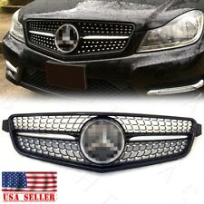 For 08-14 MB BENZ W204 C300 C350 GLOSS BLACK EURO DIAMOND MESH GRILLE SPORTS AMG