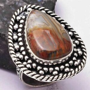 Mexican Laguna Lace Agate Ethnic Handmade Ring Jewelry US Size-7.5 AR 29891