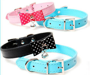 Small Cat Dog Collar Soft Leather Pet Puppy Cat Collars & Bell Chihuahua Collar