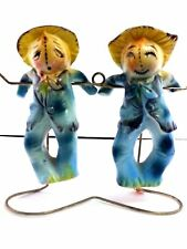 Vintage Salt and Pepper Shakers Scarecrows & Stand MidCentury Kitsch
