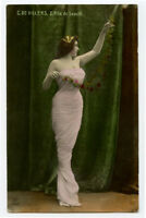 c1908 Glamour French De Villiers SHAPELY MERMAID POSE Lady Beauty photo postcard