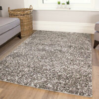 Thick Silver Shaggy Rugs | Non Shed Flecked Living Room Rug | Warm Bedroom Mats