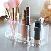 3 Slot Acrylic Cosmetic Brush Lipstick Holder Case Organizer Makeup Storage Box