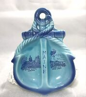 Vintage Blue Ceramic Maine Anchor Rope Ashtray Dish Lighthouse Ocean Souvenir