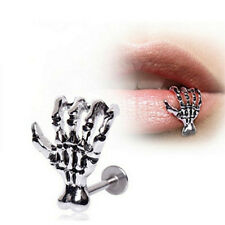 Women Skull Hand Lip Piercing Jewelry Punk Piercing Skeleton Lip  Labret CAWB