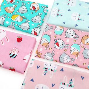 Pink & Blue Bunnies Prints Fat Quarters 100% Cotton Fabric Bundles By The Metre