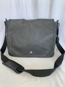 COLE HAAN Authentic Black Leather Messenger Bag Briefcase