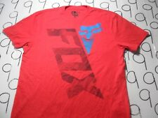 Large- Blue On Red Fox Racing T- Shirt