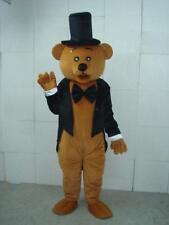 Brown Teddy Bear Mascot Costume Gentleman Suit Adult Cosplay Xmas Birthday Gifts