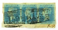 .1840s QV STRIP of 3 IMPERF. 2 PENCE PENNY BLUE, 159 GLASGOW CANCEL.