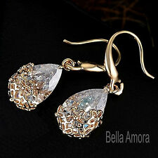 9ct Yellow Gold Filled Dangle Drop Earrings with SWA Crystal Flower UK Gift 227