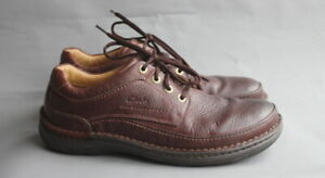 Mens Clarks Nature Three Brown Leather Shoes UK 10 G Wide Fit