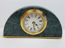 Vintage Green Marble and Brass Quartz Office Roman Numeral Desk Clock