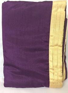 Pair Purple Shangri-La Pillow Shams with Gold Pleated Edging