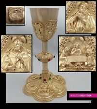 ANTIQUE 1880s FRENCH ALL STERLING SILVER GILT VERMEIL EMBOSSED CATHOLIC CHALICE