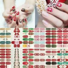12pcs 7X12cm Colorful Nail Polish Strips Red Merry Christmas Nail Warp