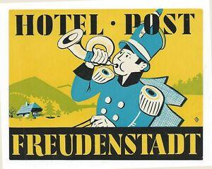 Hotel Post FREUDENSTADT Germany - vintage luggage label