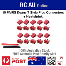 10 Pairs Deans Ultra T Style Plug Connectors + Heatshrink for RC LiPo Battery