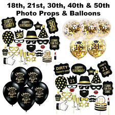18th 21st 30th 40th 50th Photo Booth Props Birthday Decorations Cheers Balloons