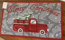 New Merry Christmas Holiday Accent Rug Red Truck With Tree  Rug 27x45 Gray