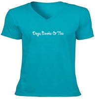 Reading Unisex V-Neck Tee T-Shirt Mens Women Gift Print Funny Dogs, Books & Tea